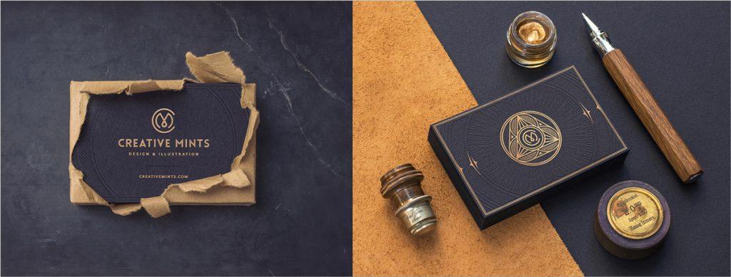 diseño de tarjeta de visita de lámina de oro