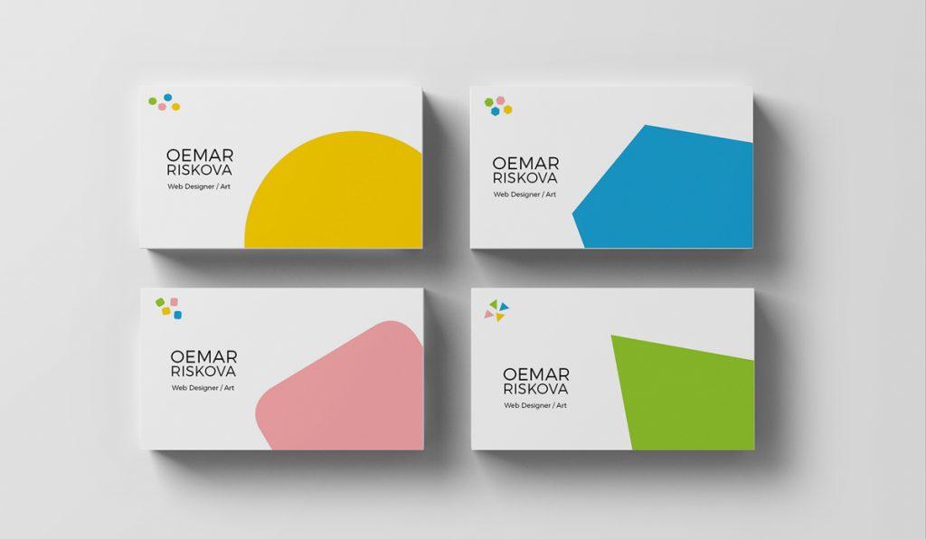 diseño minimalista y geométrico de tarjetas de visita