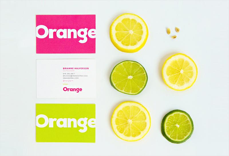 diseño de tarjeta de visita de color cítrico brillante