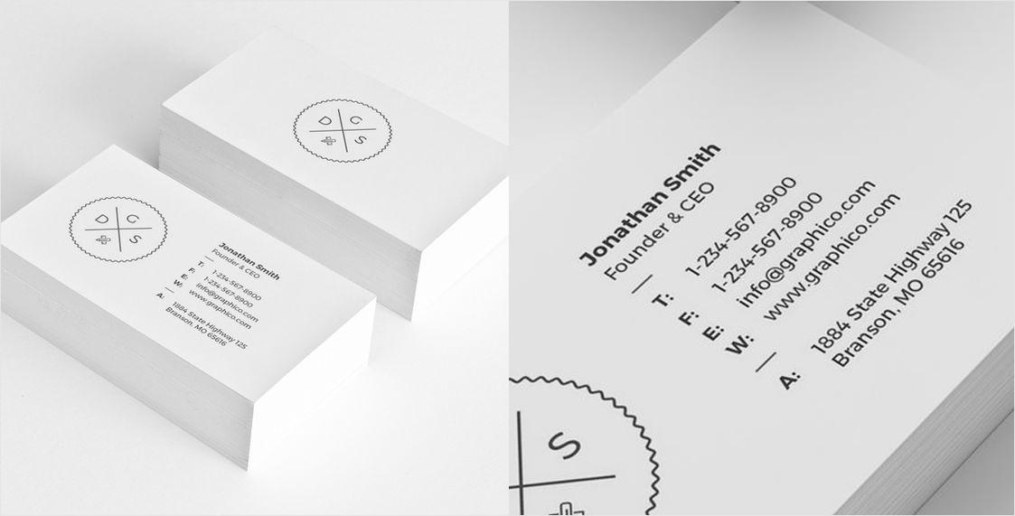 sencilla tarjeta de presentación corporativa en blanco y negro
