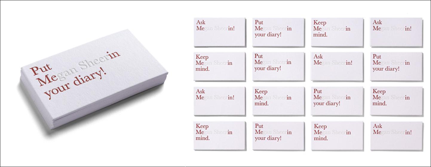 diseño de tarjeta de visita de tipografía invisible