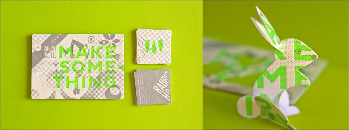 diseño de tarjeta de visita troquelada escultura de conejo