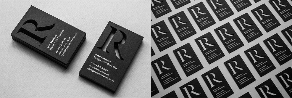 diseño de tarjeta de visita troquelada en blanco y negro