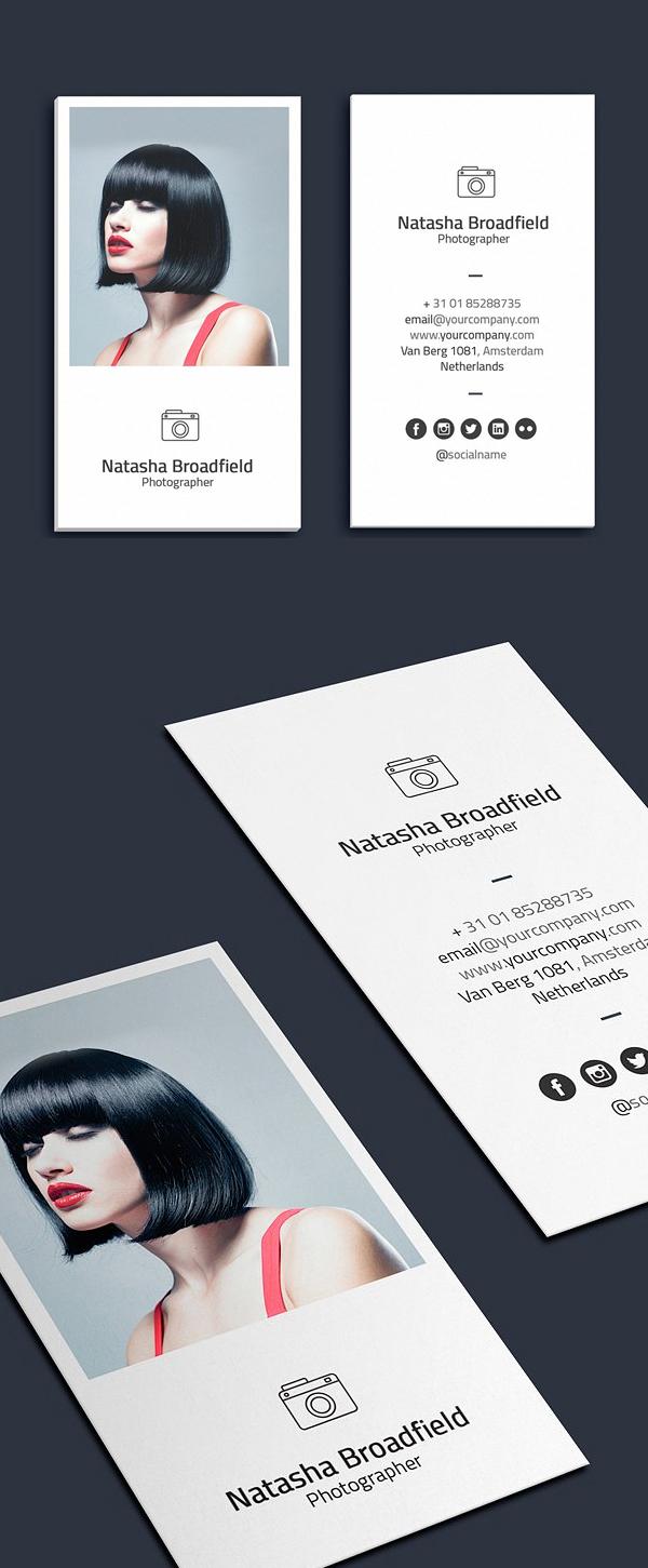 tarjetas de presentación minimalistas de fotógrafo