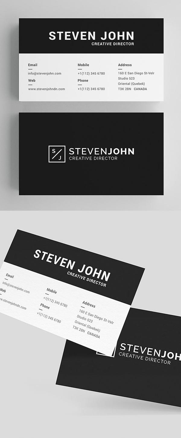 tarjetas de presentación minimalistas negra