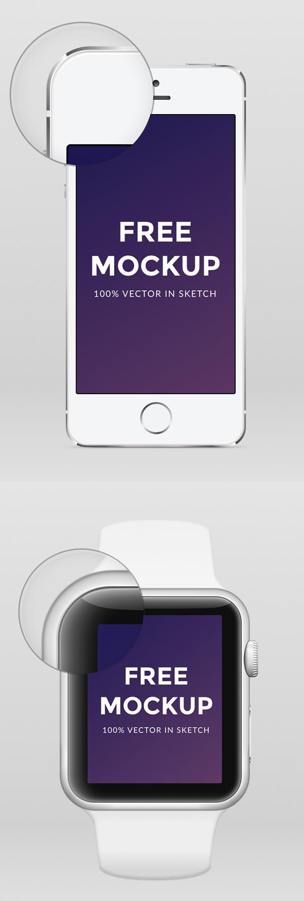 Apple Watch iPhone 6 y iPhone 5 .sketch Mockup gratis