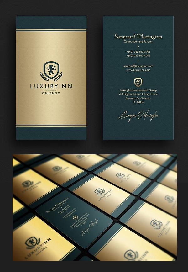 Elegante tarjeta de visita verde y dorada