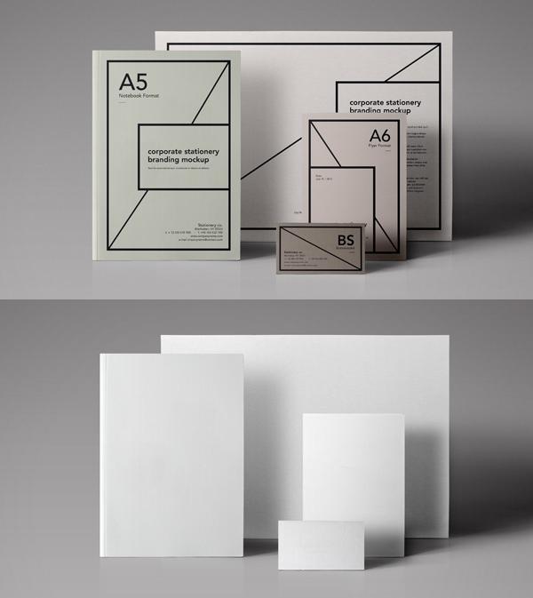 mockups en PSD gratis de papelería esencial