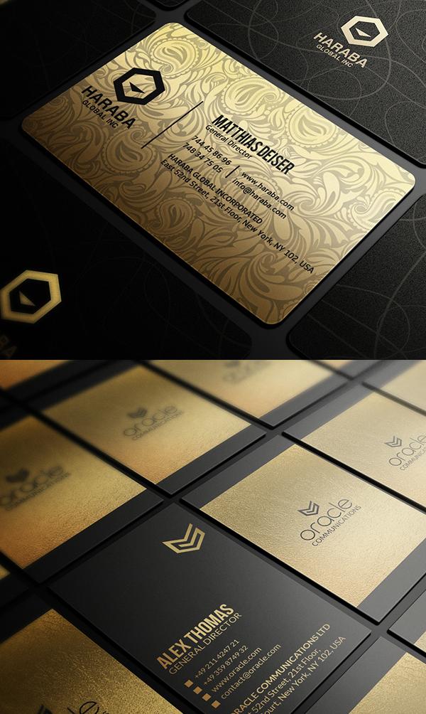 Paquete de tarjetas de visita doradas