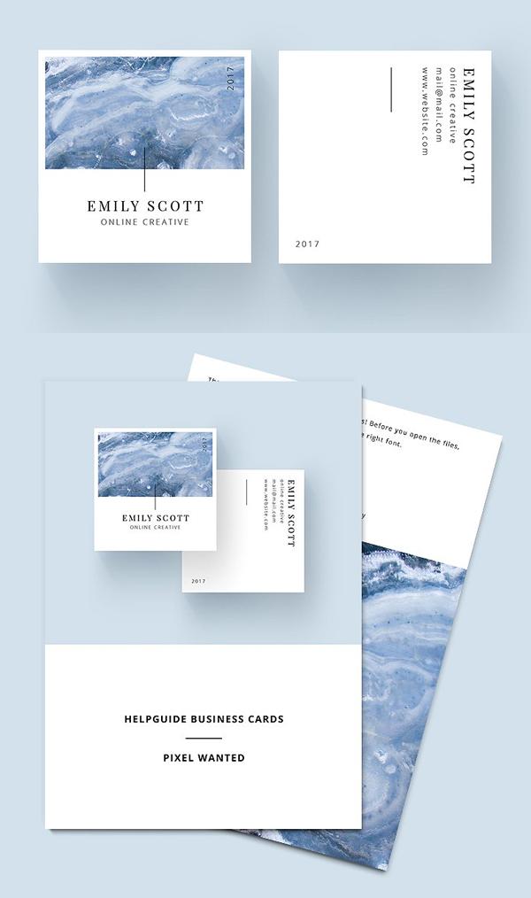 tarjetas de presentación minimalistas, Square Marble Blue Tarjetas De Negocio