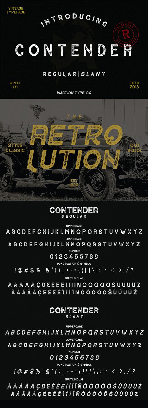 Contender Vintage Vintage Font GRATIS Descargar