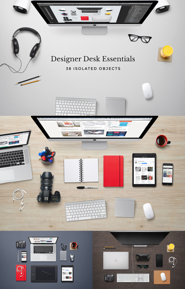 mockups en PSD gratis de Essentials de escritorio de diseñador