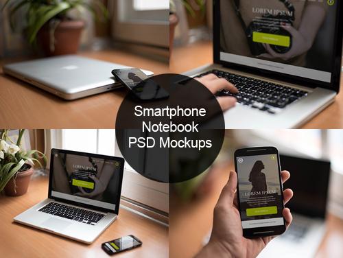 Maquetas PSD para teléfonos inteligentes y portátiles