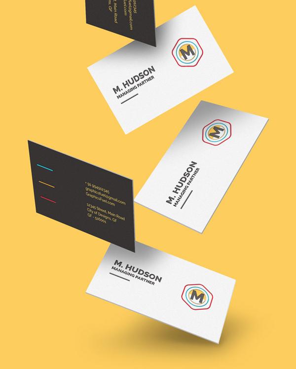 Maqueta de tarjetas de visita que cae