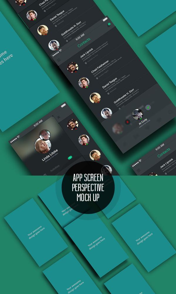 Aplicación gratuita Screens Perspective MockUp PSD