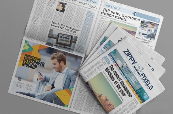 mockups en PSD gratis de publicidad en periódicos PSD