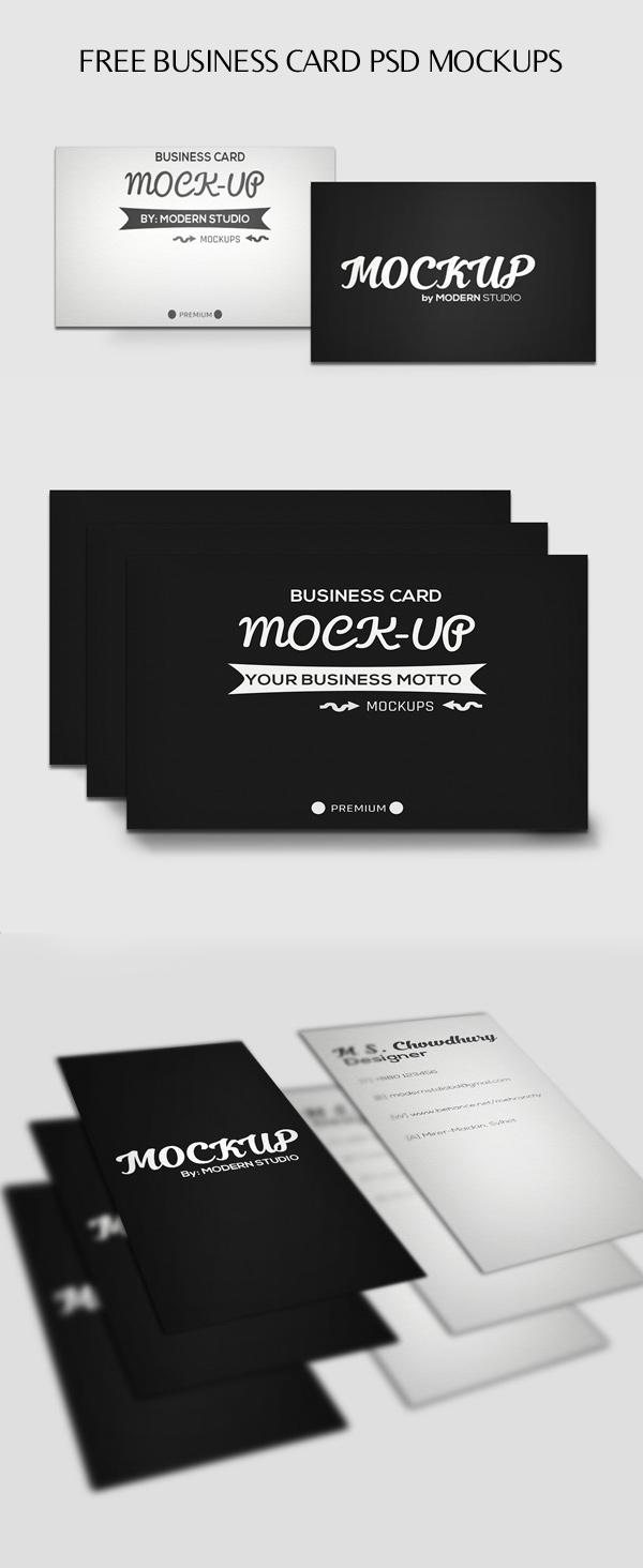 Maquetas PSD de tarjetas de presentación horizontales y verticales gratuitas