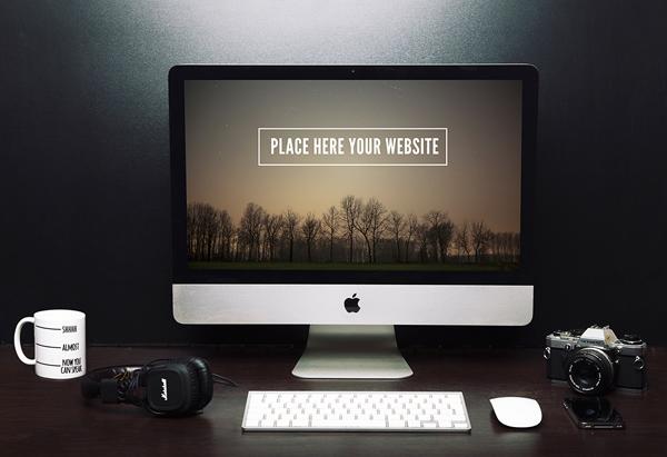 Configuración gratuita de iMac Mockup Freelancer