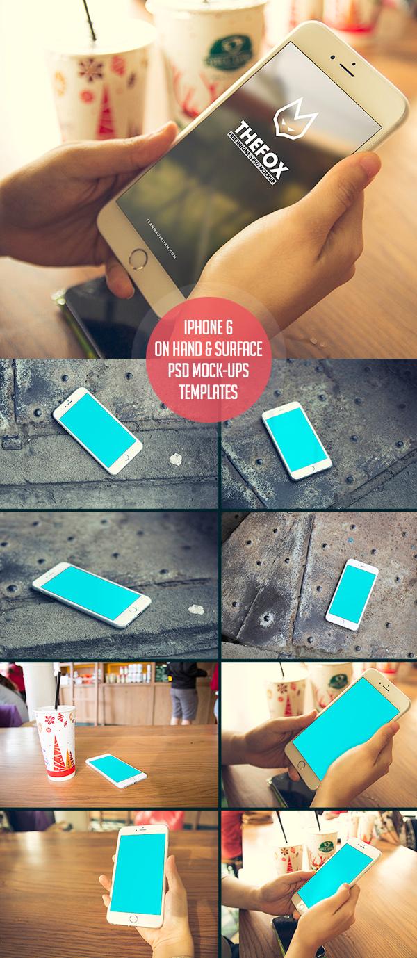 Plantilla gratuita de maquetas de PSD para iPhone 6