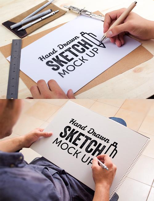 mockups en PSD gratisBosquejo dibujado a mano simulacro
