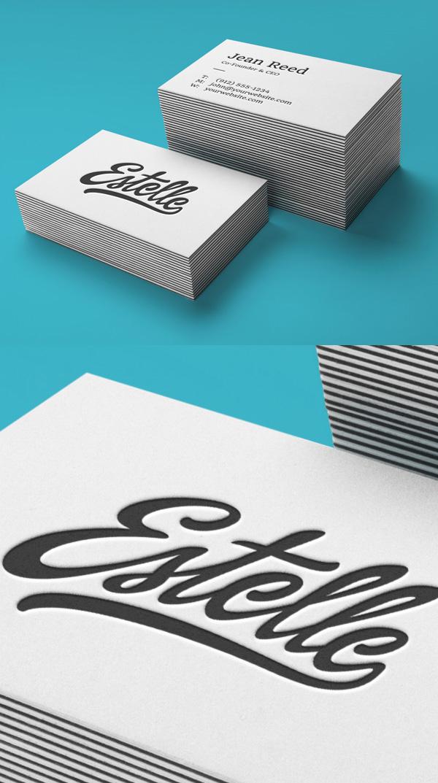 Maqueta de tarjetas de visita tipográficas
