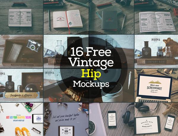 mockups en PSD gratis de Vintage Hip Mockups