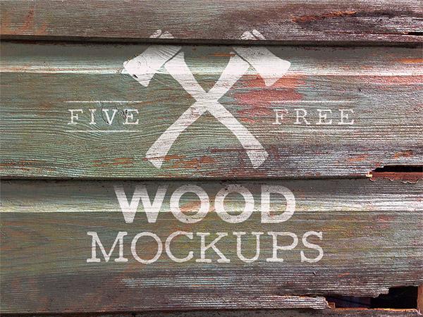 Logotipo de madera desgastada simulacros de texturas