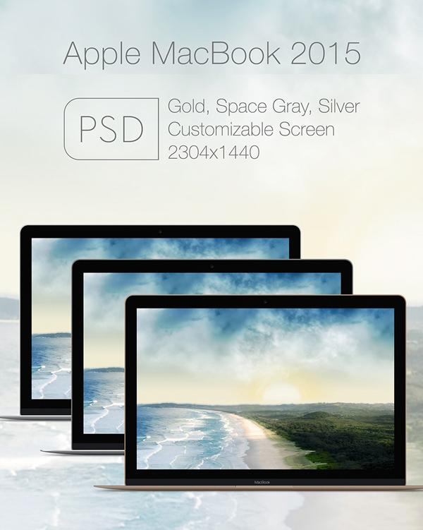 Plantillas de maquetas PSD de Apple Mac Book 2015