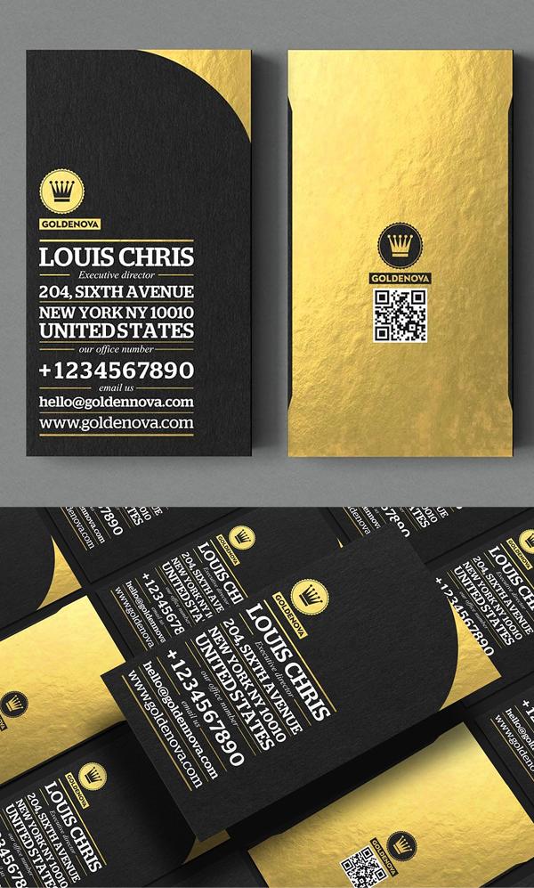 Diseño de tarjeta de visita Golden Nova