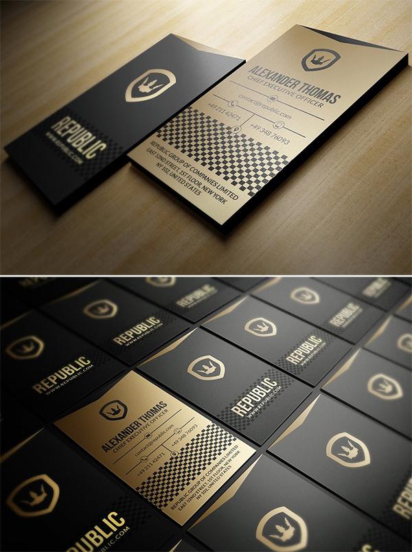 mockups de tarjetas de presentación creativas, Tarjeta de visita dorada y negra