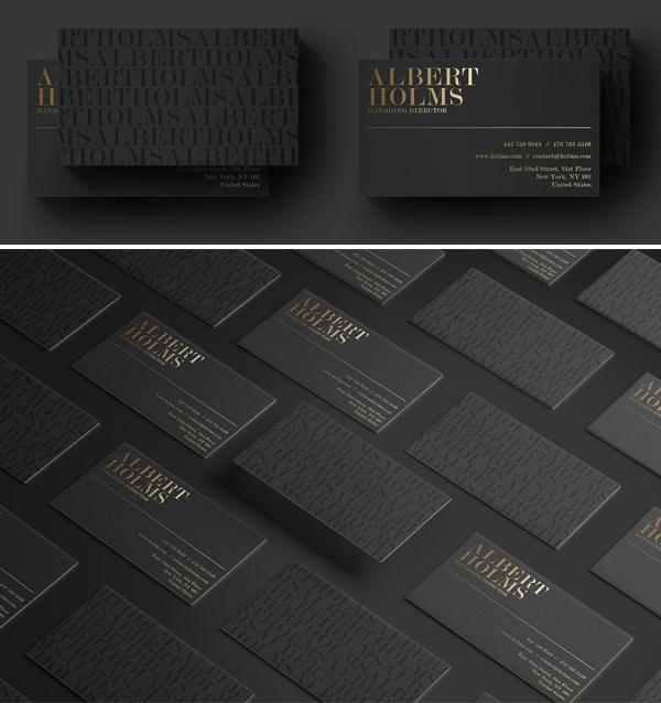 Tarjeta de visita negra de lujo