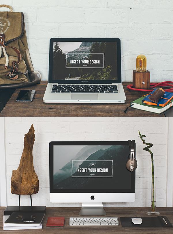 mockups en PSD gratis de escritorio Hipster gratuitas PSD