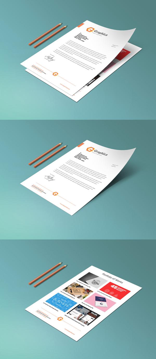 Papel con membrete y maqueta de cartera de papel PSD