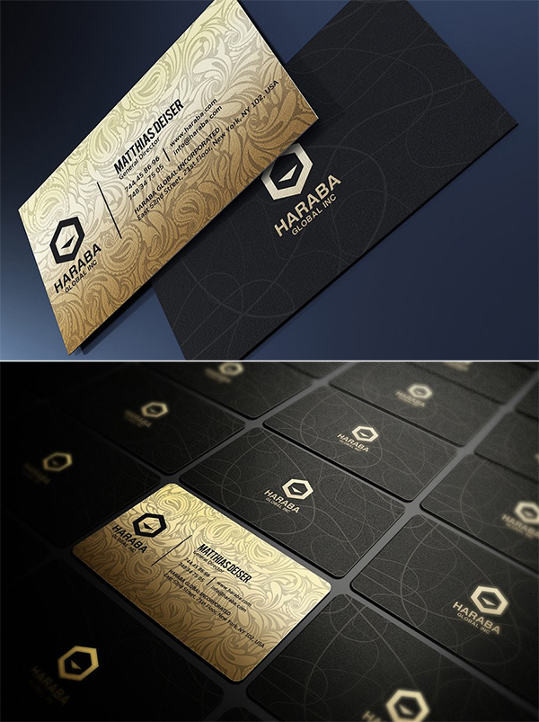 Tarjetas de Presentación en negro y dorado