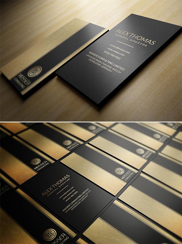 Plantilla de tarjeta de visita - lámina de oro