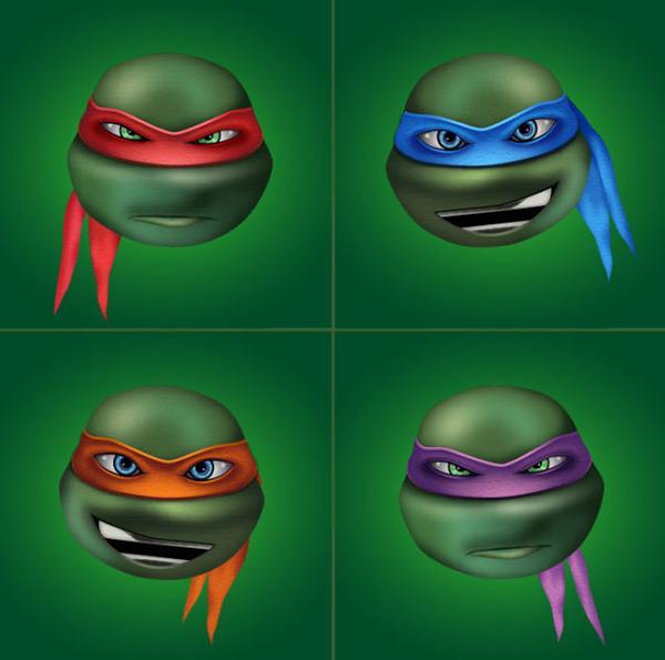 ilustración,Cómo crear cuatro personajes de tortugas ninja en el tutorial de Adobe Illustrator