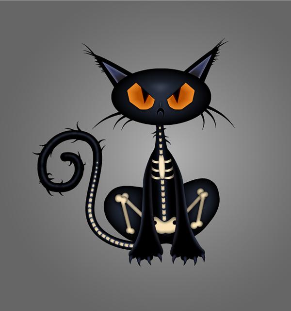 ilustración, Cómo dibujar un personaje Spooky Black Cat en Adobe Illustrator
