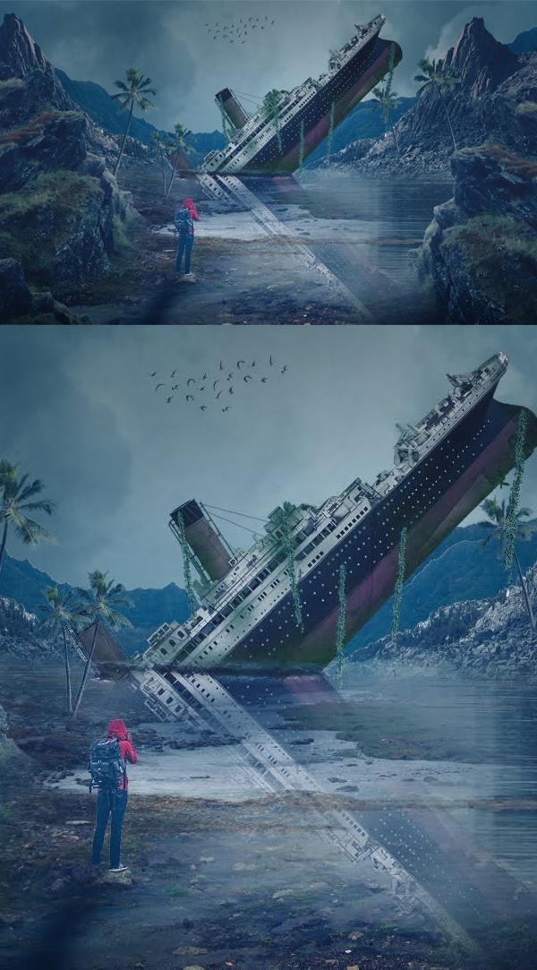 Cómo crear un tutorial de manipulación Titanic y arte digital