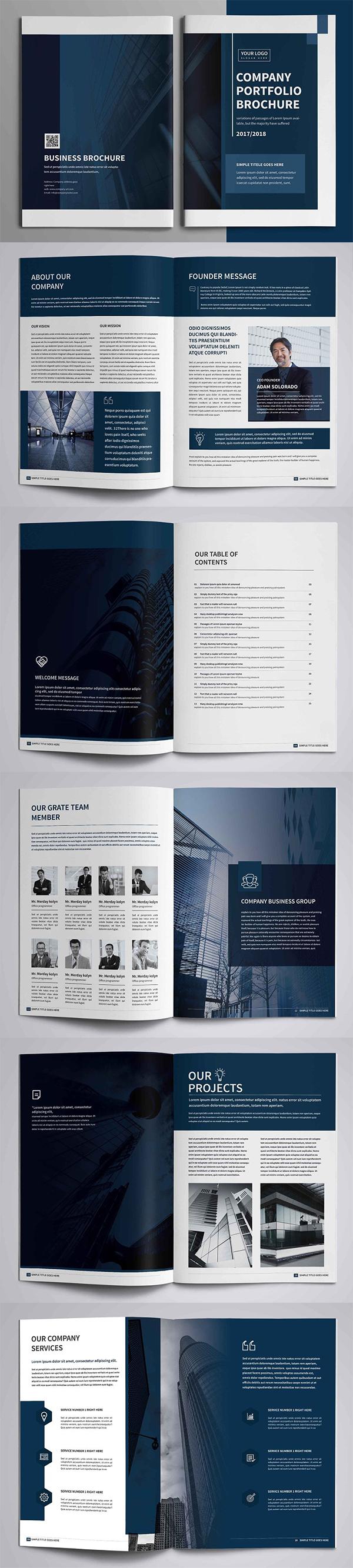 Plantillas de folletos profesionales de perfil de empresa corporativa