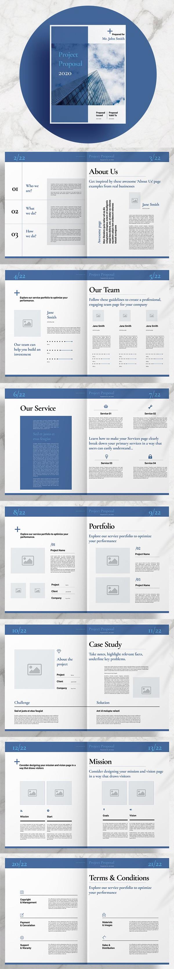 Diseño de propuesta comercial azul