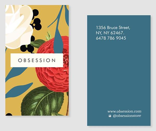 Plantilla de tarjeta de visita - obsesión floral