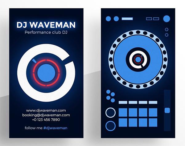 Tarjetas de presentación creativas digital para DJ