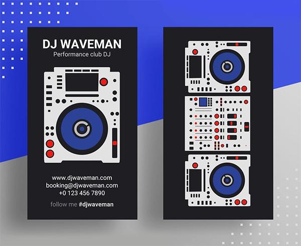 Tarjetas de presentación creativas de DJ