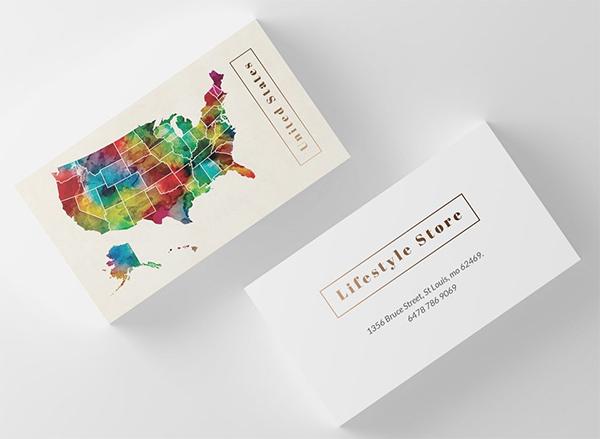 Tarjetas de presentación creativas del mapa de los EEUU del arte de la acuarela