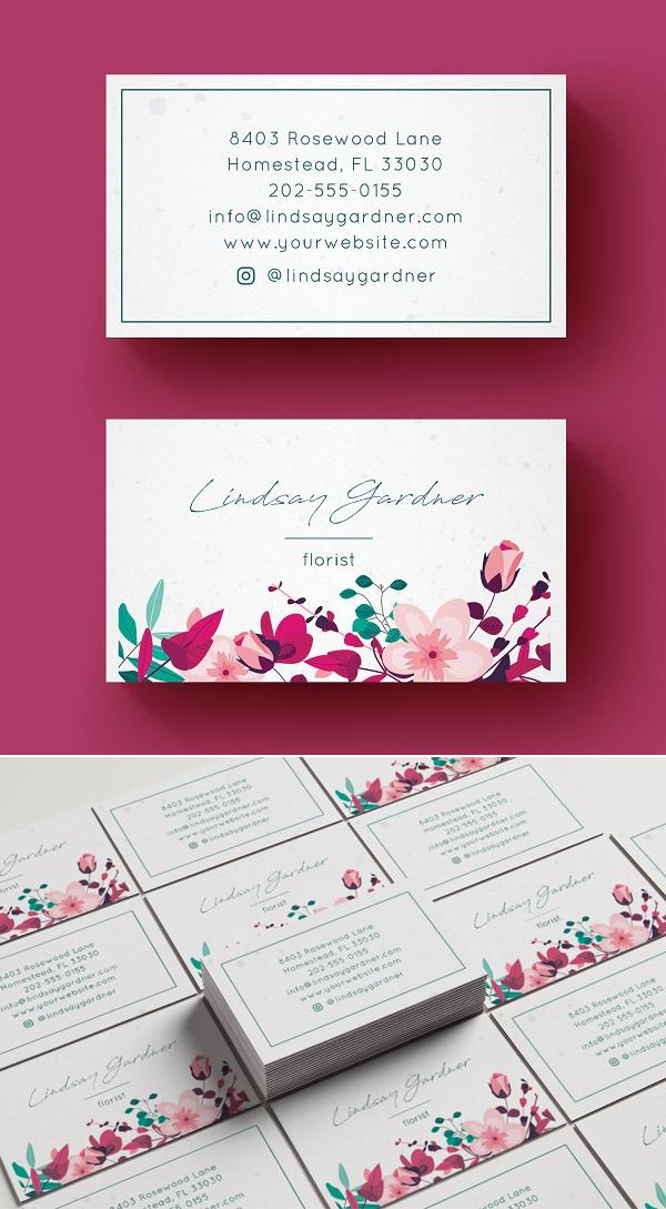 Tarjetas de presentación creativas floral
