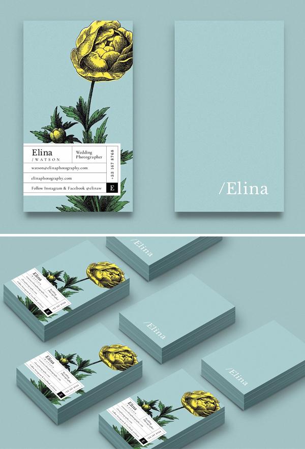 Tarjetas de presentación creativas elina