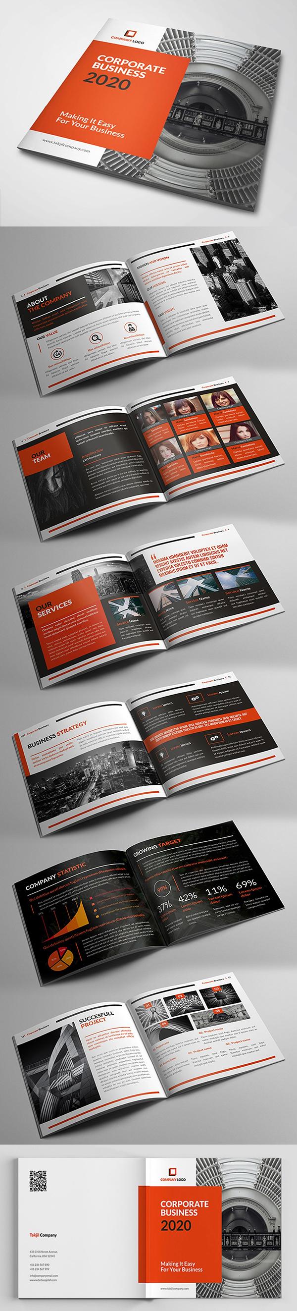 Plantilla de folletos profesionales corporativo cuadrado