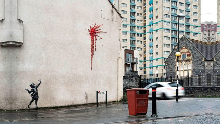 Banksy mural de san valentin