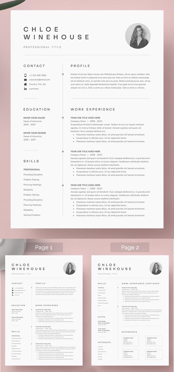 Plantilla de currículum vitae y carta de presentación