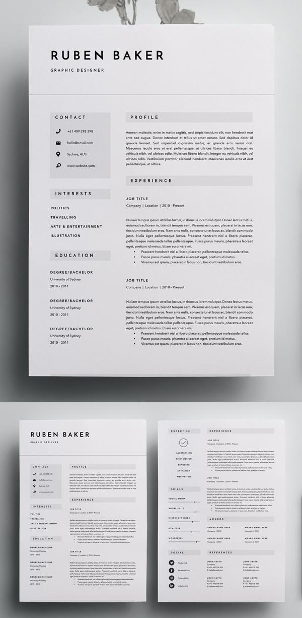 Plantilla de curriculum vitae de 3 páginas
